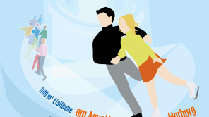 Ein Eislaufpaar im Comicstil , oben der Schriftzug Eispalast, unten der Text 600 Quadratmeter Eisfläche am AquaMar, 15.12. 2017 bis 28.01.2018. sowie einer Auflistung aller Sponsoren/uUnterstützer.