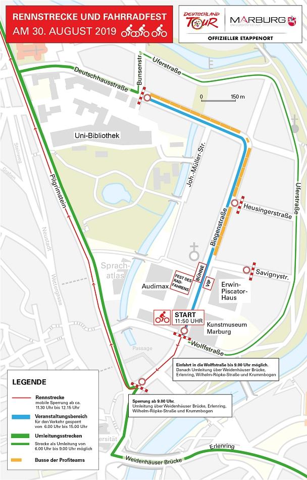 Streckenführung, Umleitungsstrecken und Start- sowie Veranstaltungsbereich sind auf dieser Karte grafisch dargestellt.©Universitätsstadt Marburg